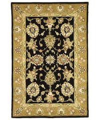 Safavieh Handmade Tabriz Black/ Gold Wool and Silk Rug (5' x 8') - 5' x 8'