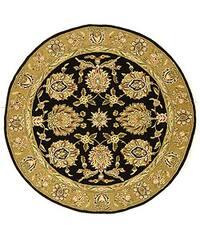 Safavieh Handmade Tabriz Black/ Gold Wool and Silk Rug - 6' x 6' Round
