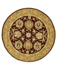 Safavieh Handmade Traditions Tabriz Red/ Gold Wool and Silk Rug (4' Round) - 4' Round