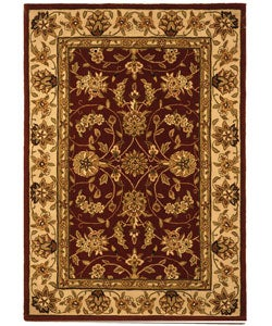 Safavieh Handmade Traditions Tabriz Red/ Gold Wool and Silk Rug - 4' x 6' - Thumbnail 0