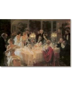 Shop Jules Alexandre Grun The End Of Dinner Canvas Art