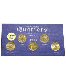 24k Gold Plated 2002 State Quarter Series & Knife - Thumbnail 0