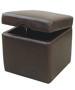 Jarcy Full By-cast Leather Espresso Storage Cube Ottoman - Thumbnail 0