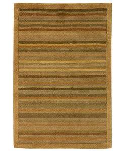 Safavieh Hand-knotted Tibetan Striped Apricot/ Sage Wool Rug (2' x 3')
