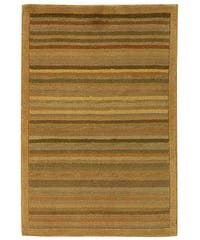 Safavieh Hand-knotted Tibetan Striped Apricot/ Sage Wool Rug - 2' x 3'
