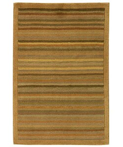 Safavieh Hand-knotted Tibetan Striped Apricot/ Sage Wool Rug - 2' x 3'