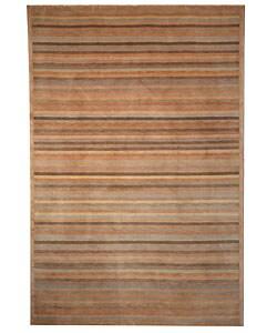 Safavieh Hand-knotted Tibetan Striped Apricot/ Sage Wool Rug (4' x 6')