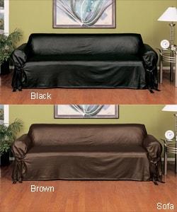 Faux Leather Slipcover Sofa