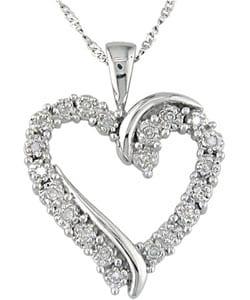 Miadora 10k White Gold 1/10ct Diamond Heart Pendant