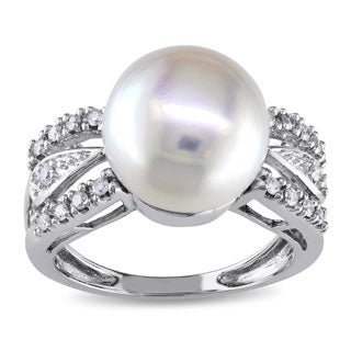 Miadora 14k White Gold 1 6 TDW Diamond Cultured Freshwater Pearl Ring G H I1 I2