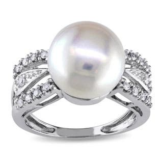 Miadora 14k White Gold 1/6 TDW Diamond Cultured Freshwater Pearl Ring (G-H, I1-I2)|https://ak1.ostkcdn.com/images/products/P1016270q.jpg?impolicy=medium