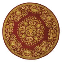 Safavieh Handmade Heritage Timeless Traditional Red Wool Rug (6' Round) - 6' Round