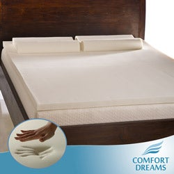 Thumbnail 1, Comfort Dreams 2-inch Queen/ King-size Memory Foam Mattress Topper/ Contour Pillow Set.