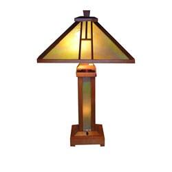 Tiffany-style Mission Lamp with Illuminated Base