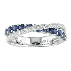 14k White Gold Sapphire and 1/10ct TDW Diamond Ring (J-K, I2-I3)
