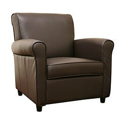 Anderson Espresso Brown Full Bi-cast Leather Club Chair - Thumbnail 0
