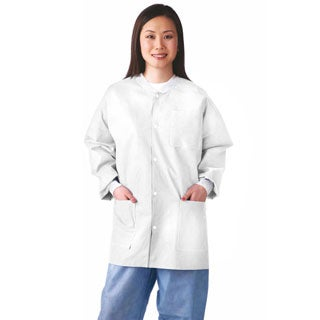 Medline Lab Jacket, SMS, Knit Collar, M (bulk pack of 30)