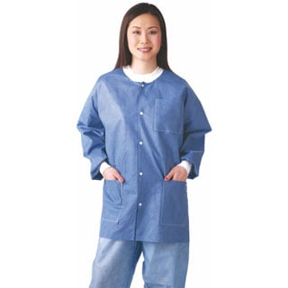 Medline Lab Jacket, SMS, Knit Collar, Blue, S (bulk pack of 30)