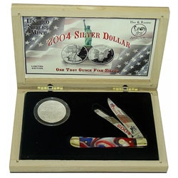 2004 Hen & Rooster Silver Dollar & German Knife Set - Thumbnail 0
