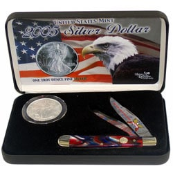 Hen & Rooster 2005 Silver Dollar & 4-1/8-inch Knife Gift Set - Thumbnail 0