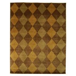 Safavieh Hand-knotted Tibetan Checkered Wool Rug (6' x 9')