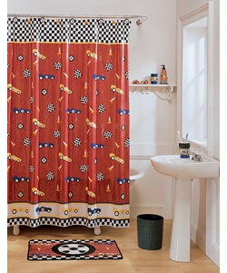 Race car hook shower curtain set free shipping on for Race car shower curtain