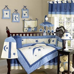 Stars and moons 12 piece crib bedding set free shipping today 10298139 - Thema baby boy kamer ...