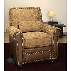 Thumbnail 1, Nutmeg Leather Chair with Lumbar Pillow.