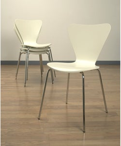 Shop White Bent Plywood Set Of Four Stacking Chairs Free
