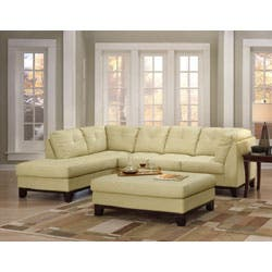 Tufted Leather Sectional Sofa And Large Ottoman Ping The Best Deals On Sofas
