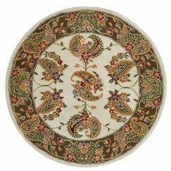 Safavieh Handmade Tabriz Ivory/ Sage Wool and Silk Rug (6' Round) - 6' - Thumbnail 0