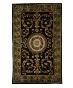 Safavieh Handmade Classic Agra Black/ Green Wool Rug - 6' x 9' - Thumbnail 0