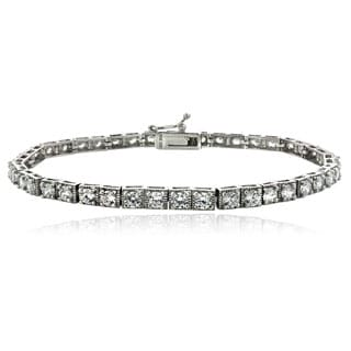 Icz Stonez Rhodium-plated Sterling Silver or 18k Goldplated Sterling Silver Cubic Zirconia Tennis Bracelet