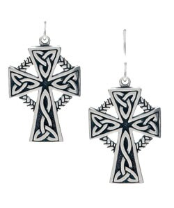 Carolina Glamour Collection Sterling Silver Large Celtic Cross Earrings (17 mm W x 37.15 mm H)