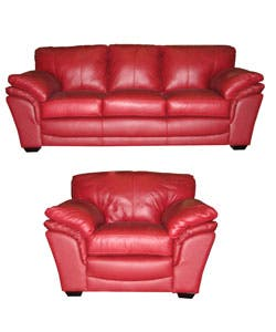 Ruby Red Leather Sofa and Chair Set   Overstock.com Shopping - The Best  Deals on Sofas & Couches