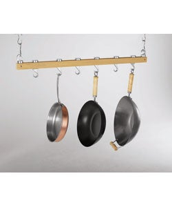 Shop Natural Wood Bar Style Ceiling Pot Rack - Free ...