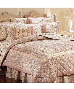 Thumbnail 1, Pink Chablis Handcrafted Quilt Set (Queen).