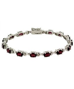 Glitzy Rocks Sterling Silver Diamond Accent Garnet Bracelet