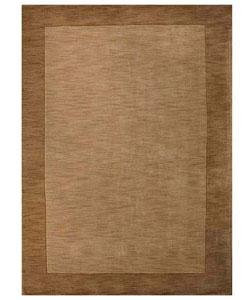 Hand-tufted Beige Border Wool Rug (8' x 10'6)