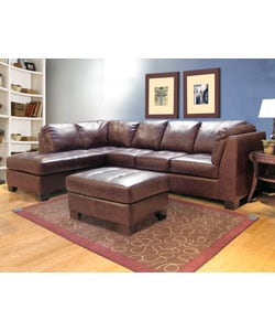 Chocolate Leather Sectional Sofa and Ottoman - Thumbnail 0