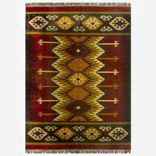 Hand-woven Kilim Burgundy Jute/ Wool Rug (4' x 6')