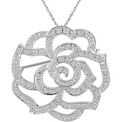14k Gold 1/3ct TDW Diamond Flower Brooch Necklace (H-I, I1-I2)