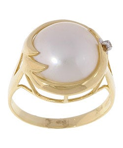 Thumbnail 1, 14k Gold Cultured Mabe Pearl Diamond Wave Ring.