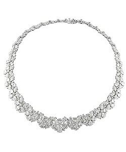 18k White Gold 64 3/8ct TDW Diamond Necklace (G-I, I1-I2) - Thumbnail 0