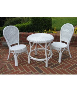 Children 39 S White Wicker 3 Piece Bistro Set Free Shipping