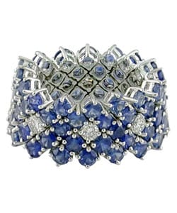 18k White Gold 7/8ct Diamond Sapphire Ring