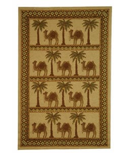 Safavieh Hand-hooked Camel Ivory/ Camel Wool Rug - 5'3 x 8'3 - Thumbnail 0