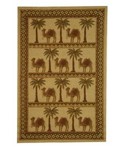 "Safavieh Hand-hooked Camel Ivory/ Camel Wool Rug - 5'3"" x 8'3"" - Thumbnail 0"