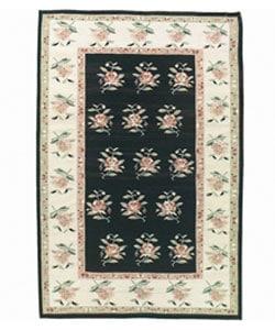 Nourison Hand-woven Mongol Kilim Black Wool Rug (5'6 x 8'6)