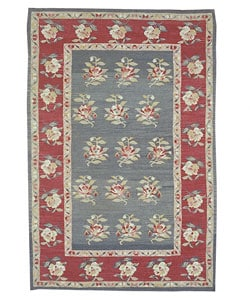 Nourison Hand-woven Mongol Kilim Green Rug (7'9 x 9'9) - Thumbnail 0